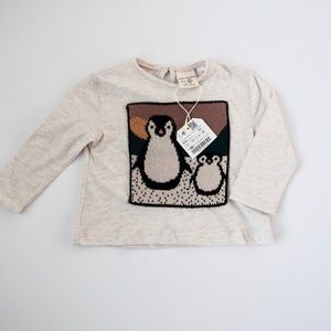 NWT Zara Baby Girl Long Sleeve Penguin Shirt